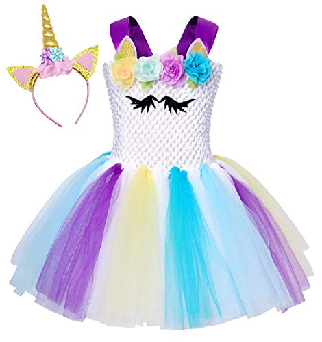 Cotrio Rainbow Unicorn Tutu Dress Girls Birthday Party Fancy Dresses with Headband Kids Halloween Costumes Outfits 2-12 Years (Size 10, 10-12 Yrs, White)]()