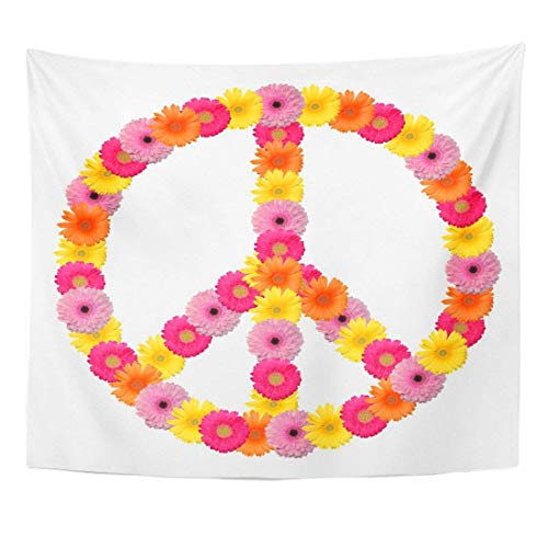 Tapestry Sign Peace Flower Symbol Power Circle Psychedelic Love Home Decor Wall Hanging for Living Room Bedroom Dorm 50x60 inches