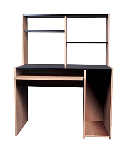 Mylex Computer Desk with Hutch, 53.23 H x 40.76 W x 23.75 D, Black with Oak, Assembly Required (38005) by Mylex