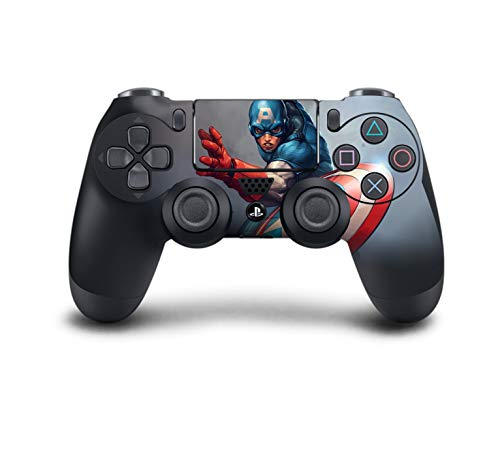 Captain Control (PS4 DualShock Wireless Controller Pro Console - Newest PlayStation4 Controller with Soft Grip & Exclusive Customized Version Skin (PS4-Captain America) (1 - Pack))