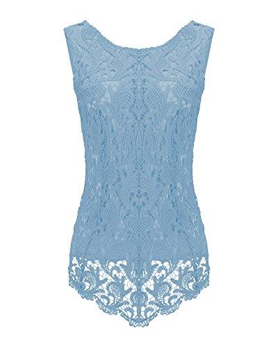 Cuello Redondo De Encaje Sin Mangas De La Camisa De Malla Hueco Para Mujer De Blusa Chaleco Agua Azul
