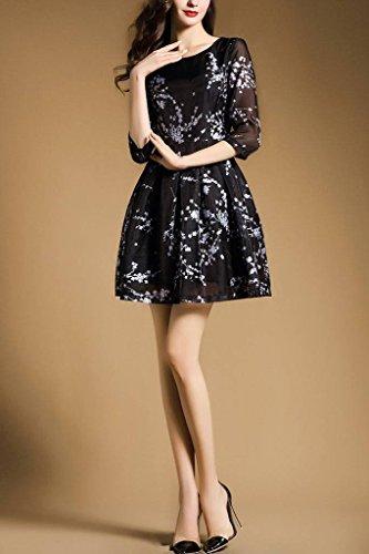 Xiang Ru Dames Organza Jour Cocktail Floral Mini Robe De Plage De Fête Noir