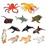 12pc Plastic Marine Animal Model Toy Figure Ocean Creatures Dolphin child Kid by Completestore