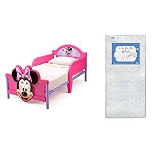 Delta Children 3D-Footboard Toddler Bed, Disney Minnie Mouse Twinkle Galaxy Dual Sided Recycled Fiber Core Toddler Mattress (Bundle)
