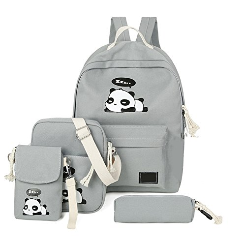 4Pcs Cute Panda Backpack Lightweight Casual Canvas School Backpacks for Teen Girls (Grey)