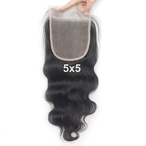 Luwigs Transparent Lace 5x5 Lace Closure Body Wave Brazilian Human Virgin Hair Pieces Natural Hairline with Baby Hair Natural Color (20 inches, Body Wave)
