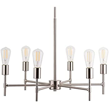 bella pendant light with led edison bulbs included brushed nickel stem hung chandelier fixture