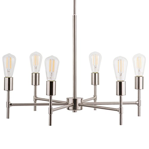 Bella LED Industrial Hanging Chandelier Light Fixture Brushed Nickel Linea di Liara LL-P250-BN