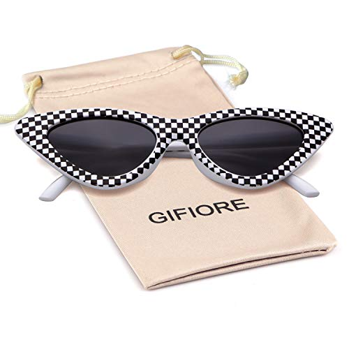 Gifiore Retro Vintage Cateye Sunglasses for Women Clout Goggles Plastic Frame Glasses (checkered, 51)