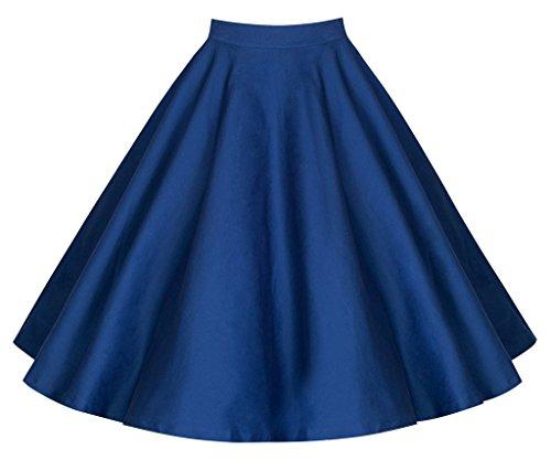 Femme swing uni imprim 50 midi annes vintage Eudolah Bleu des Jupe style fleurs WUT0AAP8n