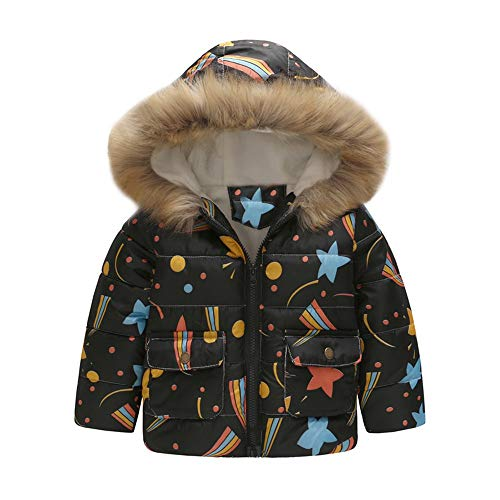 Geetobby Baby Girls Hooded Parka Jacket Stars Warm Windproof Down Coat Outerwear