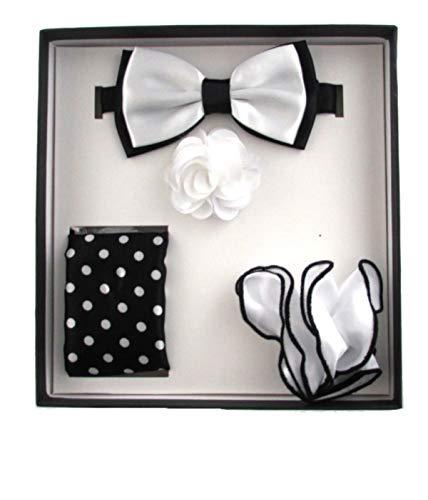 (Men's 4 PC Polka & Solid Pre-Tied Bow Tie, Two Pocket Squares & Flower Lapel Pin Set (Black & White))
