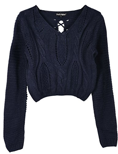 2ac745fe5e Jual PrettyGuide Women s Sweater Long Sleeve Eyelet Cable Lace Up ...