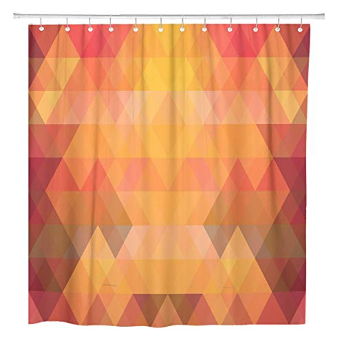 ArtSocket Shower Curtain Colorful Abstract Mosaic Triangle Geometric Rhombus Orange Color Creative Home Bathroom Decor Polyester Fabric Waterproof 72 x 72 Inches Set with Hooks