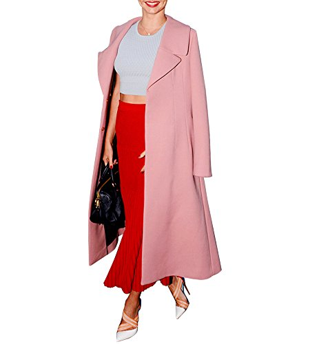 Hego Women's 2017 Spring New Turn-down Collar Slim Pink Long Wool Coat H2984 (L, Pink) (Pink Coat)