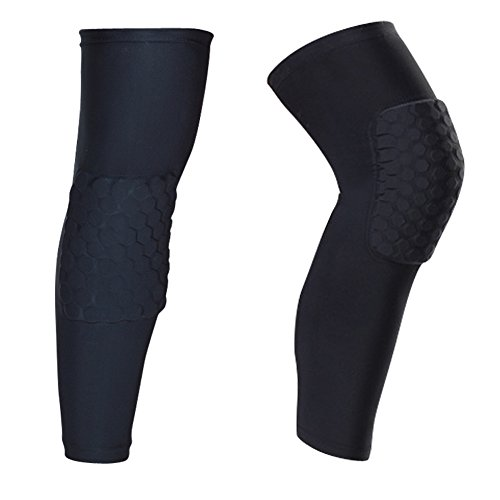 O-Best 2 Packs (1 Pair) Protective Compression Wear Breathable Honeycomb Knee Pads Crashproof Antislip Basketball Leg Knee Sleeve