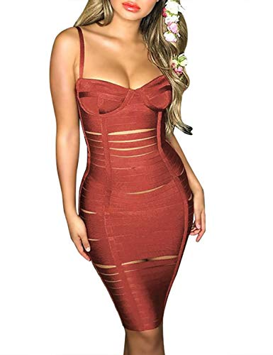 Hego Women's Cut Out Club Party Bandage Bodycon Dresses for Special Occasion H5645 (Bronze, L)