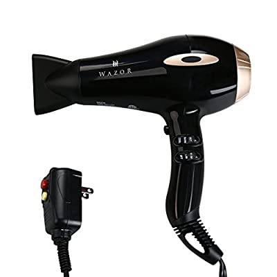 Wazor Professional Hair Dryer 1875W Negative Ionic Blow Dryer With 2 Speed and 3 Heat Settings Cool Shut Button