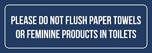 iCandy Combat Blue Background W White Please Do Not Flush Paper Towels Or Feminine Products in Toilets Metal Wall Sign - 6 Pack, 3x9