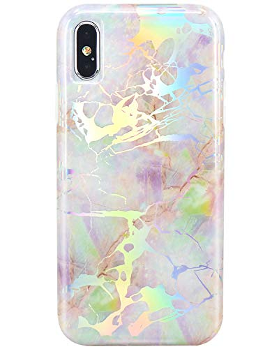 JIAXIUFEN Shiny Change Color Opal Colorful Marble Slim Shockproof Flexible Bumper TPU Soft Case Rubber Silicone Cover Phone Case for iPhone Xs Max 2018 6.5 inch