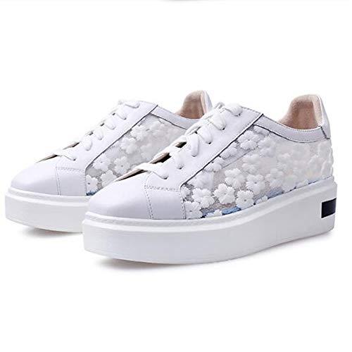 Sneakers Leather Summer White Comfort Nappa de Cerrado Spring Rosa ZHZNVX Punta con Blanca Mujer Negra Creepers Zapatos n8RCWqxH