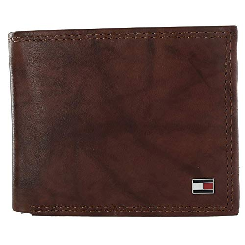 Tommy Hilfiger Men's RFID Blocking Leather Extra Capacity Traveler Wallet, Tan Huck, One Size
