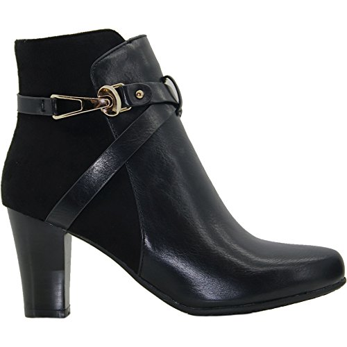 ® Cross Capri Faux Leather Smart BOUTIQUE Ankle Strap Contrast Pointed Suede GLC532 Black Boots FANTASIA wtxCzU5qt