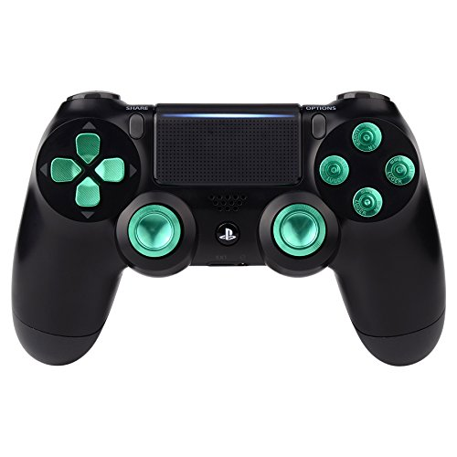 eXtremeRate Metal Green Thumbsticks & Bullet Buttons & D-pad Replacements Kits for PlayStation 4/DualShock 4/PS4 Slim/PS4 Pro Controller For Sale