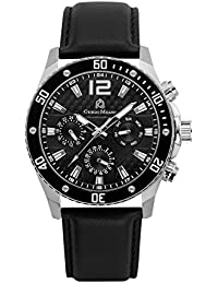 102STBK32 Stainless Steel Multi-Functional Watch w/Black Genuine Leather Strap