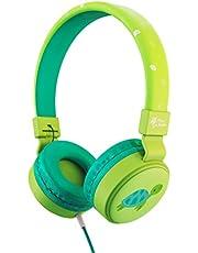 Planet Buddies Hoofdtelefoon voor Kinderen, veilig volume, opvouwbare koptelefoon met kabel, oortelefoon voor kinderen, ideaal voor reizen en school, werkt met computer, telefoon, tablet en kindle - groene schildpad