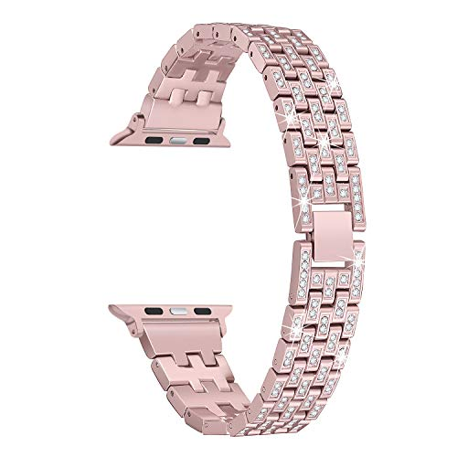 Secbolt Bling Metal Bands Compatible iWatch Band 38mm 40mm iWatch Series 4/3/2/1, Dressy Diamond Bracelet Wristband Women, 4 Colors Available, Rose Gold