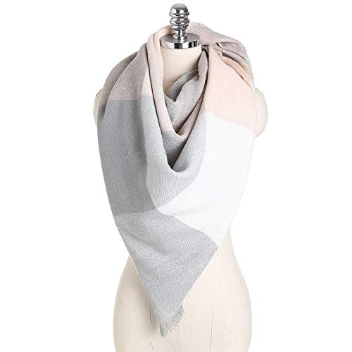Women's Soft Warm Color Stitching Scarf Fall Winter Large Checked Blanket Scarves Wrap Shawl HunYUN -