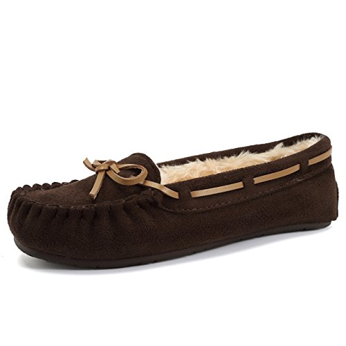 Fur Lined Indoor Coffee01 Women's On Slip Suede Fanture amp; Moccasins Faux Outdoor Slipper ZwUIwqX