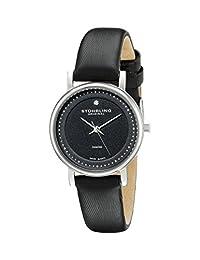 Stuhrling Original Women's 734L.02 Classic Ascot Castorra Elite Swiss Quartz Ultra Slim Genuine Diamond Black Leather Strap Watch