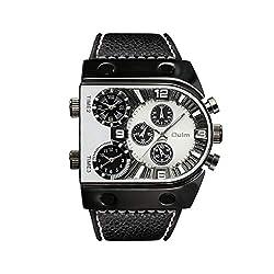 MmNote Sports Men's Quartz Analog Clock Three Time Zone Dial Design Stylish Black Watch