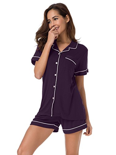 SIORO Short Sleeve Pajama Set Plus Size Women's Knit Sleepwear Loungewear Soft Button Down PJ Top and Shorts Eggplant XL (Pajamas Womens Purple)