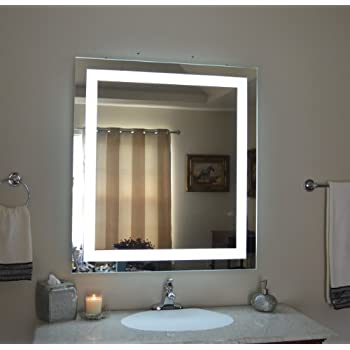 Wall Mounted Lighted Vanity Mirror LED MAM83640 Commercial Grade 36 w x 40 h. Amazon com  Wall Mounted Lighted Vanity Mirror LED MAM84032