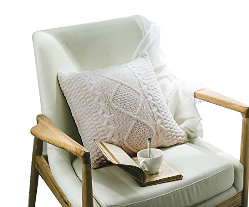 - DOKOT Decorative Knitted Throw Pillow Cover, Cotton Square Warm Cushion Case with Cable Knit and Diamond Check Pattern for Home Office Car Sofa, 18 x 18 inch, Beige
