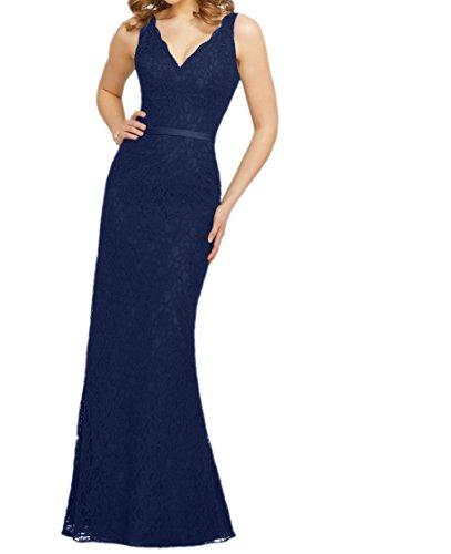 Damen Etuikleider Dunkel Spitze Trumpet Brautjungfernkleider Abendkleider Abschlussballkleider Blau Lang Charmant d8qwgd