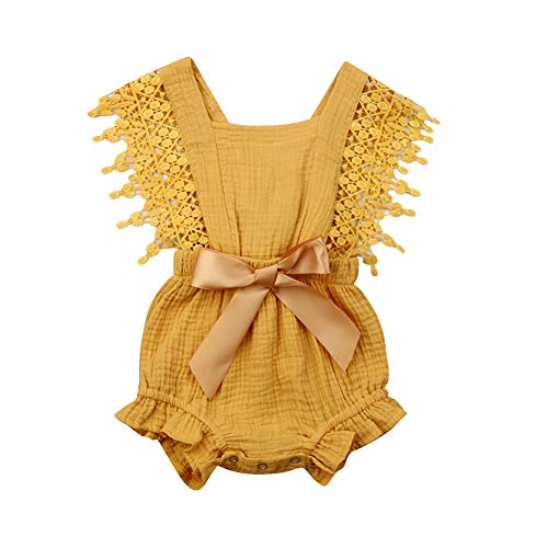 (Newborn Baby Girl Rompers Lace Flutter Sleeve Bowknot Jumpsuit Bodysuit Princess Clothes (6-12 Months, Yellow))