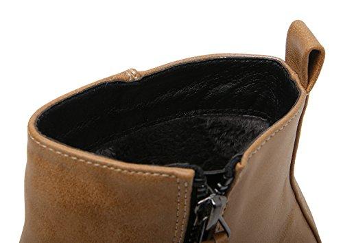 Smilun Damen Chelsea Stiefel Kurzschaft Stiefel Reißverschluss Stiefelette Braun