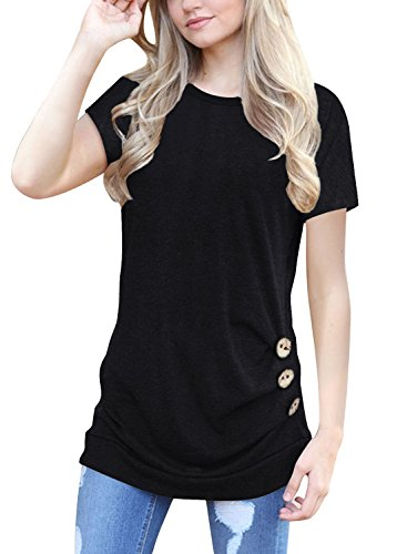 NICIAS Womens Short Sleeve Casual Crew Neck Loose Tunic Tops Blouse T-Shirt with Buttons