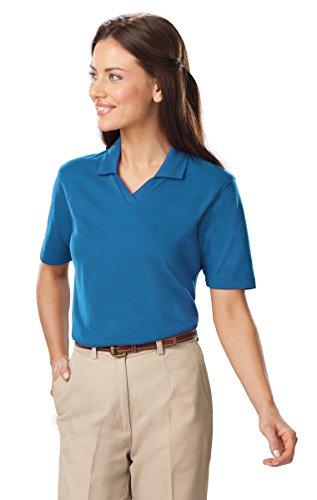 Blue Generation BG6209 Short Sleeve Ladies' Superblend V-Neck Polo (M, Turquoise)