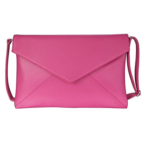 With A Handbag Fuchsia Flap Evening Envelope Long Large Clutch Over Style Strap w0q8nxB4