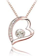 Quadiva C! Collana da donna con elegante ciondolo a forma di cuore (colore: oro rosa) impreziosita da scintillanti cristalli Swarovski®
