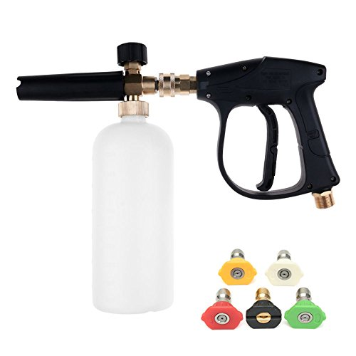 NUZAMAS High Pressure Washer Gun with 5 Water nozzle Tip & 1L Snow Foam Lance Bottle Kit for Car Floor Deck Windows Cleaning M22 Metric Male thread fitting ()