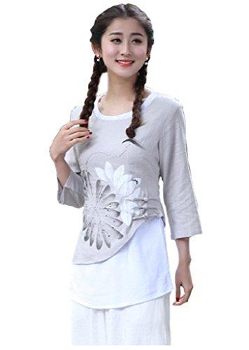 とてもヘルシー縁石(上海物語) Shanghai Story チャイナシャツ 七分袖トップス 偽2点セット チャイナ服 花柄 ショート丈 上着 民族風 Tシャツ ブラウス チーパオトプス 女性用