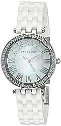 Anne Klein Women's AK/2201WTSV Swarovski Crystal Accented White Ceramic Bracelet Watch