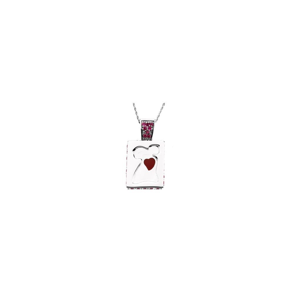 Jewels By Lux 925 Sterling Silver Go Red American Heart Necklace