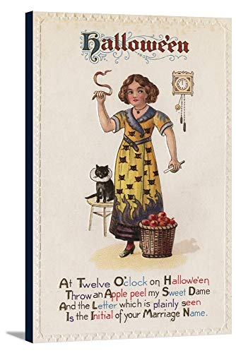 Halloween Greeting - Girl in Black Cat Dress with Black Cat (22 5/8x36 Gallery Wrapped Stretched Canvas)]()